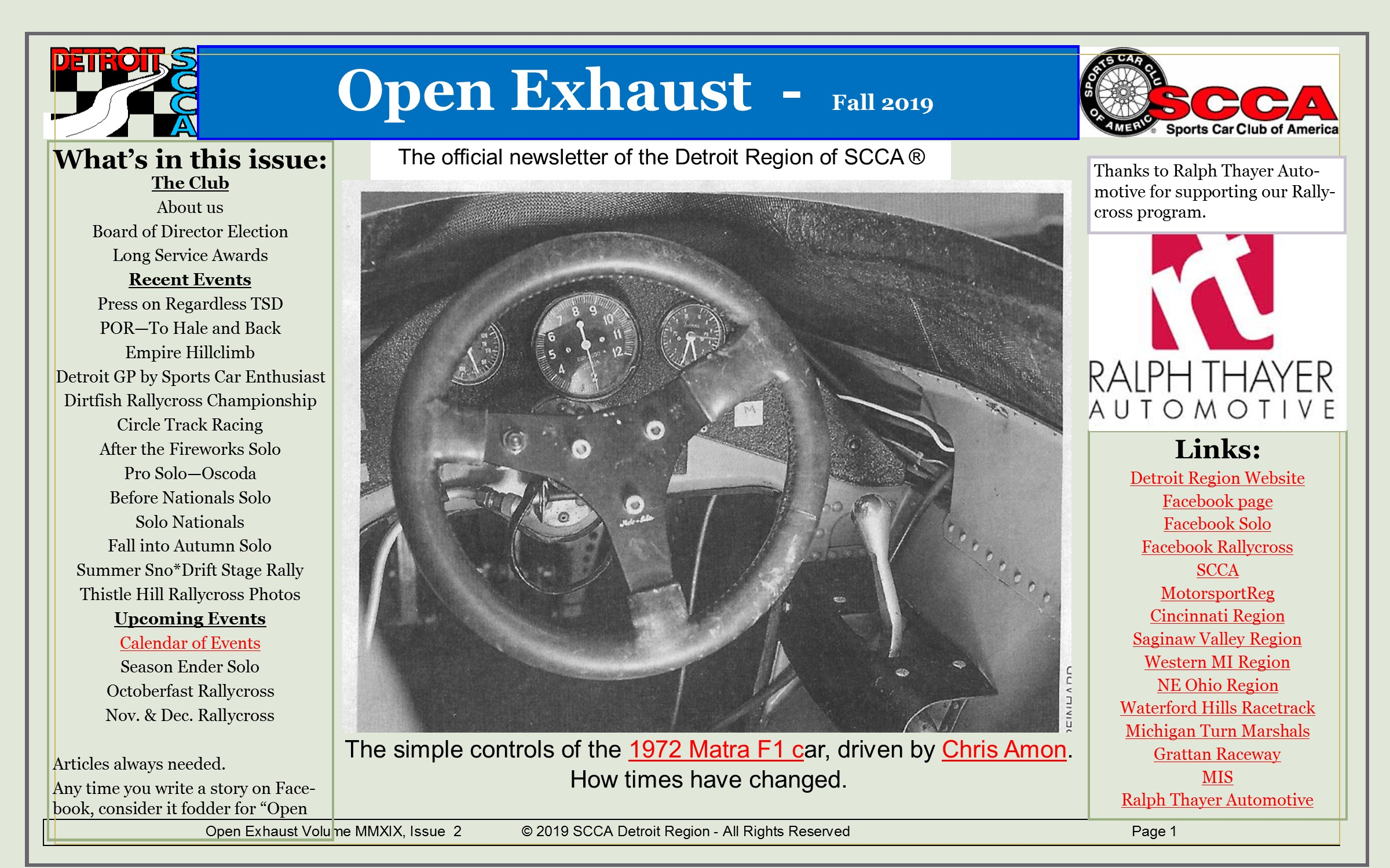 Fall Open Exhaust Newsletter